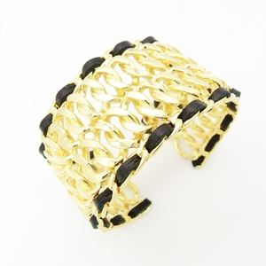 Chanel Alloy,Leather Bangle Gold,Black