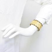 シャネル(Chanel) 合金,レザー バングル ゴールド,ブラック