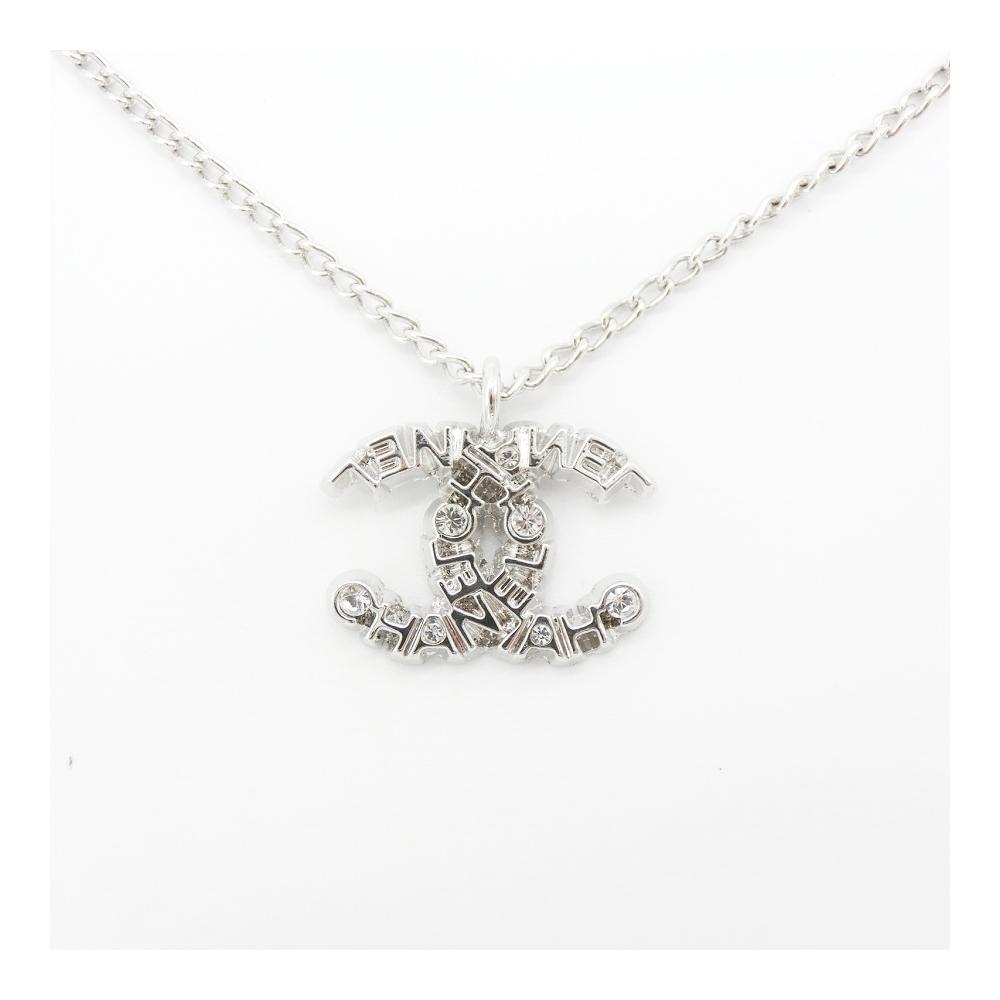 Chanel Coco Alloy Rhinestone Women's Casual Pendant Necklace (Silver)