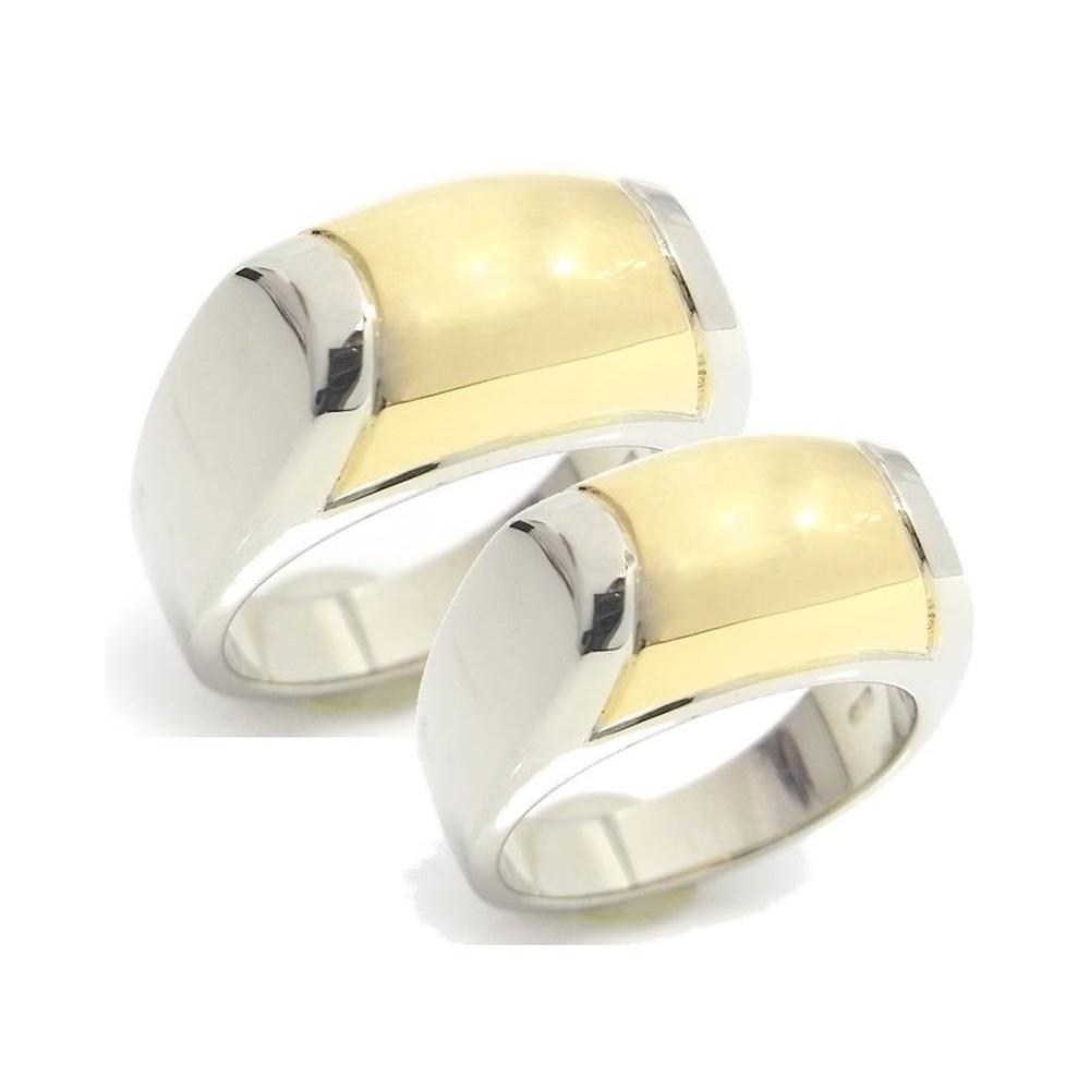 Bvlgari Yellow Gold (18K),White Gold (18K) Pair,Elegant Couple Ring Yellow Gold,White Gold