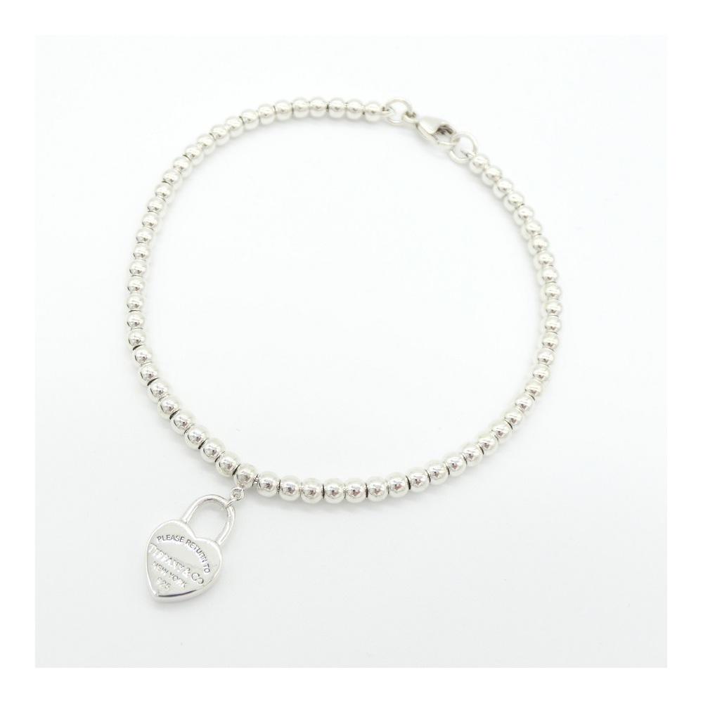 eb37f3410 Tiffany Bracelet Ladies Silver / Ag 925 Return To Mini Heart Ball Chain  Simple Adult Casual