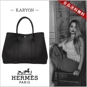 Hermes Hermes Bag Tote Ladies Black / Garden Party Pm Negonda All Leather Genuine Handbag Large Cap Casual Present