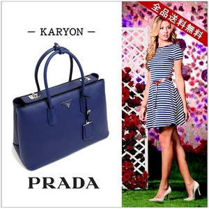 Prada Bag Handbag Ladies Blue / Inchiostro Ink Silver Hardware Bracelet Saffiano Cuir Calfskin Bn 2748 Navy Simple Formal