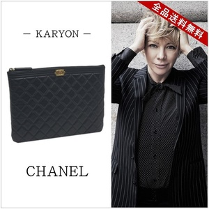 Chanel Bag Clutch Women's Men's Black / Boy Chanel Second Coco Mark Gold Hardware Lambskin A 80571 Quilting Simple Casual