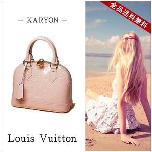 Louis Vuitton Louis Bag Women's Handbag Shoulder / Verni Alma Bb Rose Ballerine M50415 2 Way Mini Patent Leather Pink Enamel