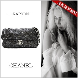 Chanel Bag Chain Handbag Womens Black / Matrasse Shoulder Silver Hardware Mesh Sequin Seda Casual Gorgeous Party Elegant
