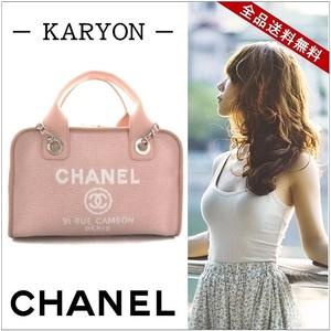 Chanel Deauville Line Bowling Bag 2way Shoulder / Handbag Canvas Pink A92749 Cute Girly