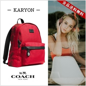 Coach Printed Canvas Small Campus Backpack Rucksack Paisley × Dot Pattern Red Black Silver Hardware Tool Leather 34855