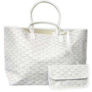 Goyard Goyar Bag Tote Women's White / Saint Louis Pm Pvc × Calf Summer With Pouch
