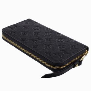 Louis Vuitton Louis Monogram · Anplant Zippy Wallet Round Zipper Long Purse Unisex Black Noir / Calf Leather Adult Casual M61864