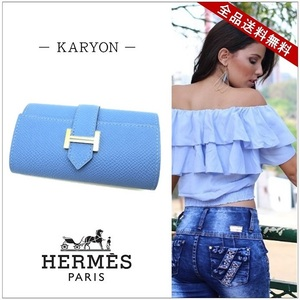 Hermes Hermes Bean Four Consecutive Key Case Keychild Accessories Blue Paradise Gold Hardware Vaud Epson Leather T Engraved Unisex