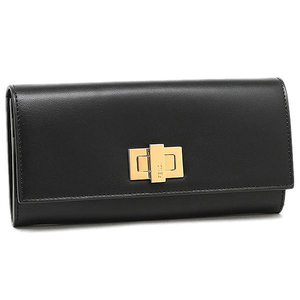 Fendi Peekaboo Peek-a-bou Fold Wallet 8m0377 Women's Black / Calf Leather