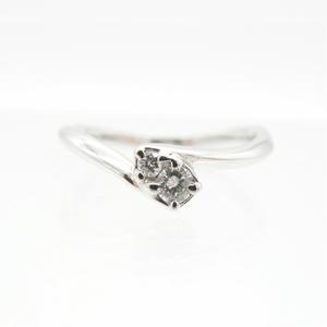 Yondo Sea Ring Ladies Silver / Pt 950 Platinum Engagement 2 P Diamond Simple