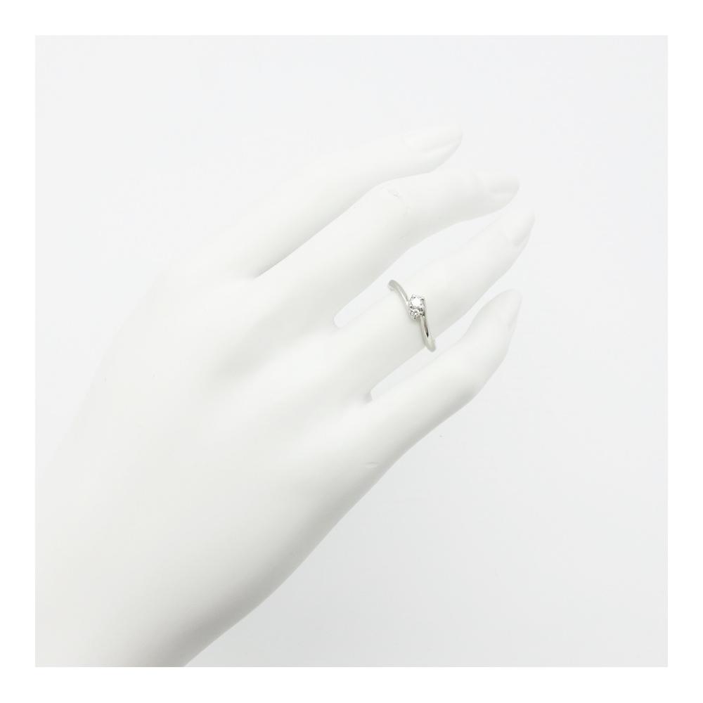 ヨンドシー【4℃】リング レディース シルバー / / Pt950 プラチナ / エンゲージリング 2Pダイヤモンド  シンプル