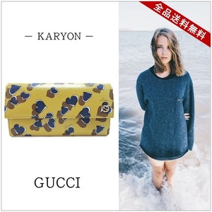 Gucci Gucci Heart Beat Print Leather Continental Wallet Folded Long Coin Purple Yellow Gold Hardware Pvc 309702 1147