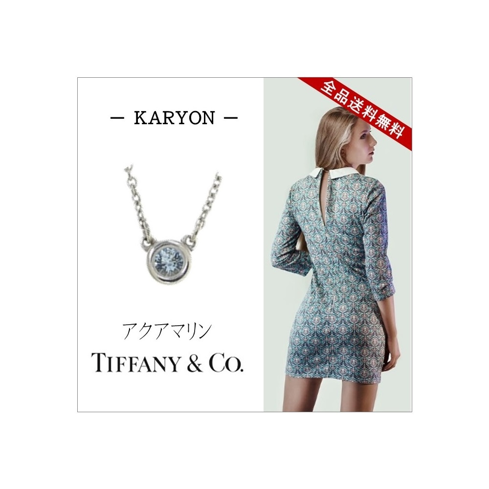 64cb5d55965f5 Tiffany Jewelry Necklace Silver 925 Ladies / Elsa Peretti Byzayard 1p  Aquamarine Stone Gift Present Birthday