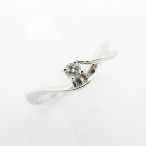 Ellingu Ladies Silver / Pt 900 Platinum Simple 1p Diamond 0.05ct Clean Pretty Elegant Formal