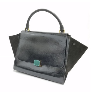 Celine Bag Handbag Women's Black / Trapezes 2 Way Patent Enamel Leather Simple Real Gift 169543 Rtg