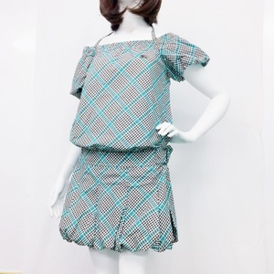 Burberry Fashion One Piece Ladies Gray / Blue Label A Line Gingham Check Puff Sleeve 36 Japan Size Xs Casual Fresh Dating