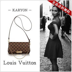 Louis Vuitton Damier Favorite PM N41276 Women's Shoulder Bag Ebene