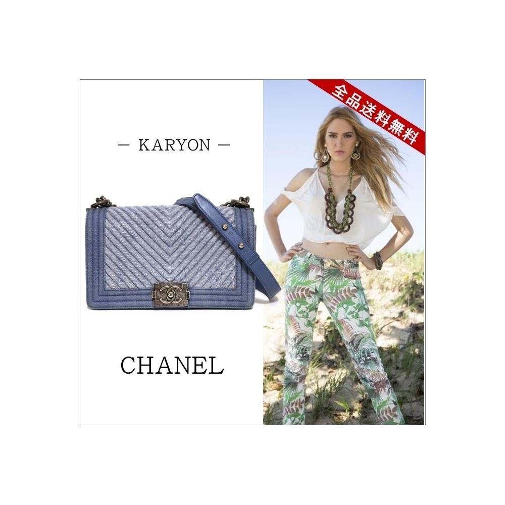 シャネル(Chanel) シャネル バッグ チェーンショルダーバッグ レディース ブルー デニム / シェブロン ボーイシャネル インディゴブルー A92771 / チェーンバッグ ロゴ 鞄  大人カジュアル 【17】【ギフト対応】 【中古】