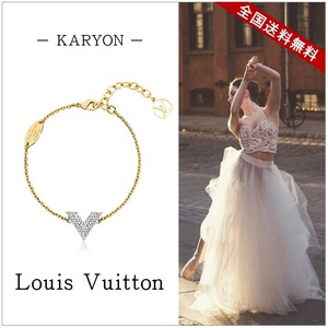 Louis Vuitton Louis Accessory Bracelet Ladies Gold / Essential V Strass Swarovski Silver Jewelry Logo Simple Elegant M68034