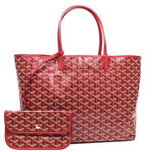 Goyard Goyar Saint Louis Pm Tote Bag Women's Red / Coating Canvas Cotton Calf Leather Adult Casual