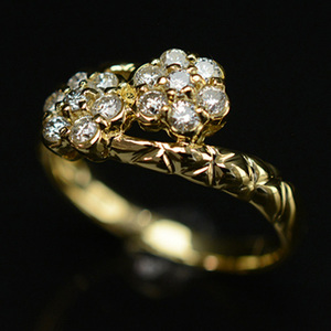 ノーブランド K18イエローゴールド(K18YG) ファッション ダイヤモンド リング カラット/0.35 ゴールド