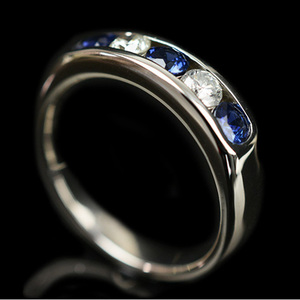 ノーブランド Pt900(プラチナ) ファッション ダイヤモンド リング カラット/0.29 プラチナ 副石サファイア