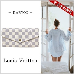 Louis Vuitton Wallet Long Ladies Men's White / Damier Azur Porto Foyu Sala N63208