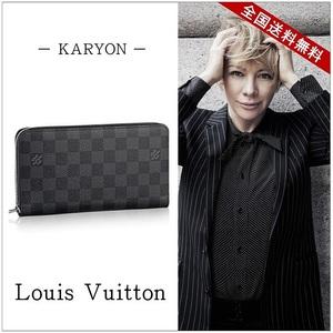 Louis Vuitton Louis Wallet Long Men's Black / Damier Graphite Zippy Organizer N 63077 Casual Simple Formal