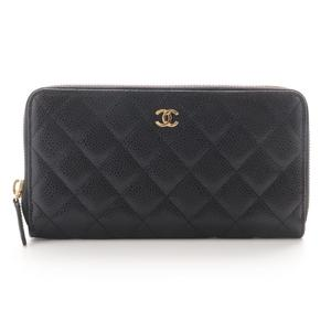 Chanel Purse Ladies Black Gold Hardware A50097 / Matrasse Round Fastener Caviar Skin Bordeaux Wallet Simple Quilting Citylike Accents