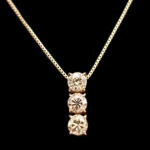 ノーブランド K18ピンクゴールド(K18PG) ダイヤモンド レディース エレガント ネックレス カラット/0.6