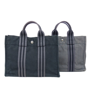 Auth Hermes Hand bag Fourre-Tout PM 2Set Canvas Tote Bag Black,Gray Used