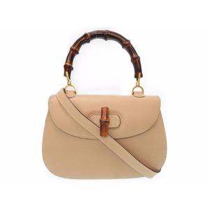 Gucci 000 01 0633 Women's Leather Bamboo Handbag Gold,Beige,Brown