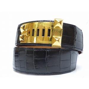 Hermes Coredocyan Medor Porosus Belt 0448 Engraved ○ 0 Gold Hardware