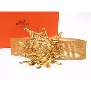 Hermes Vintage Solar Motif Gold Choker Necklace Antique 0221