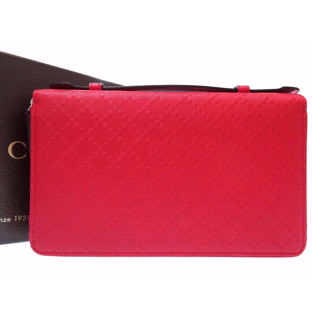 e0e850c08d4 Gucci Diamante Travel Document Case Double Zip 336298 Leather Red Purse 0190