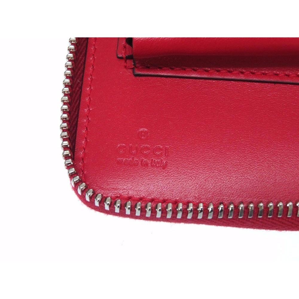 83f2e19c87b Gucci Diamante Travel Document Case Double Zip 336298 Leather Red ...