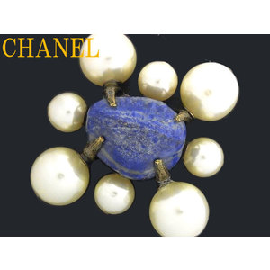 Chanel Artificial Pearl,Metal Brooch Blue,White