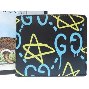 Gucci Men's Leather Wallet (bi-fold) Black,Light Blue