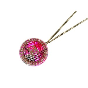 Chanel Plastic Women's Chain Necklace (Pink)