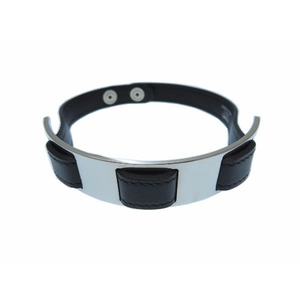 Hermes Choker Leather Silver Black □ F Engraved Necklace Ladies 0320