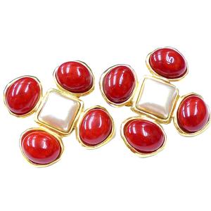 Chanel Metal Earrings Gold,Red