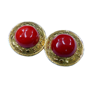 Chanel Metal Earrings Gold,Red