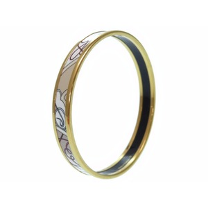 Hermès Cloisonne Bake Emauey Bangle White Bracelet 0549 Hermes