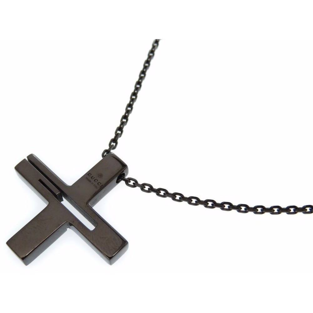 ad9eb5620 Gucci Cutout G Cross Pendant Necklace Silver 925 Black Men's 0203 Gucci