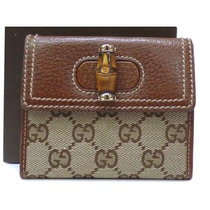 Gucci Bamboo,GG Canvas Wallet Bambou,Brown