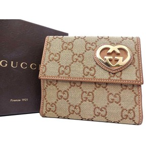 Gucci GG Canvas Wallet Beige,Bronze