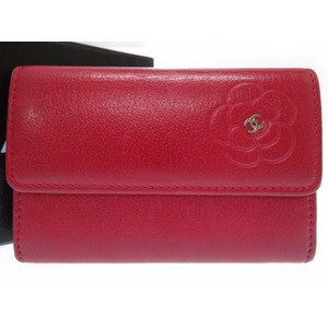 Chanel Leather Card Case Red